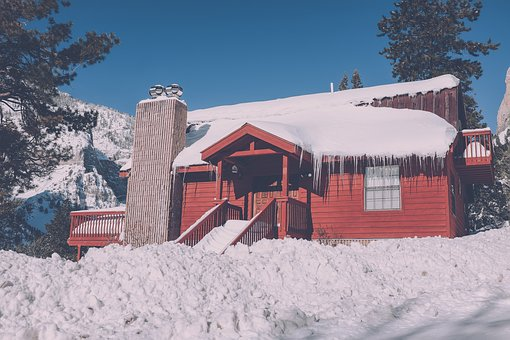 House, Winter, Snow, Stair, Terrace, Trees, Bricks