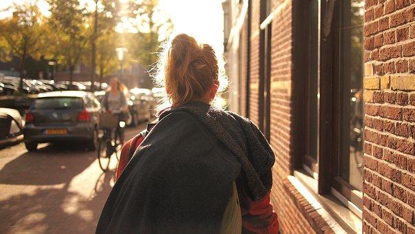 People, Woman, Bun, Sunny, Walk, Street, Building