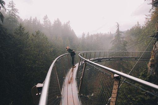 Adventure, Trip, Travel, Bridge, Woman, Girl, Trees