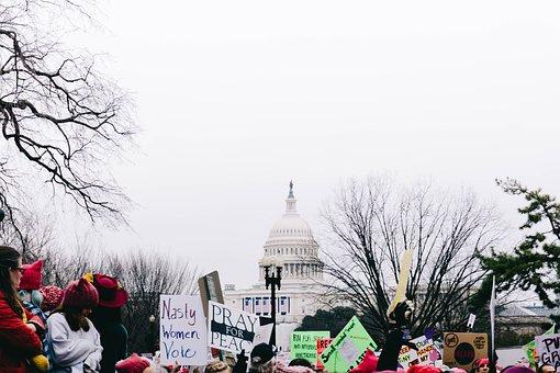 Rally, Protest, People, Street, Road, Women, Walking