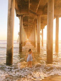 People, Woman, Model, Waves, Ocean, Sea, Beach, Sunset