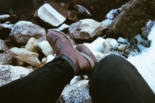 Feet, Leather, Boots, Pants, Rocks, People, Man, Lace