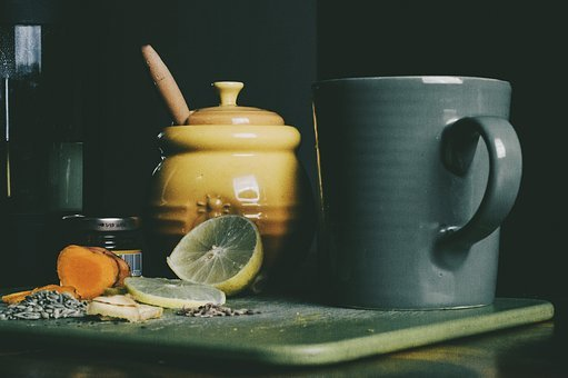 Mug, Lemon, Glass, Chopping Board, Carrot, Pot