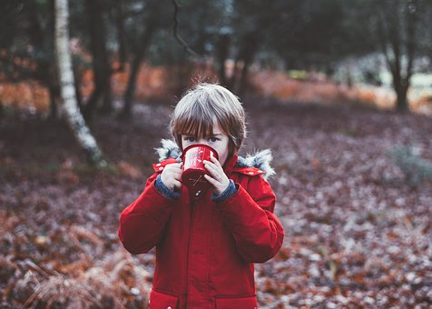 People, Kid, Child, Raincot, Red, Cold, Weather, Coffee