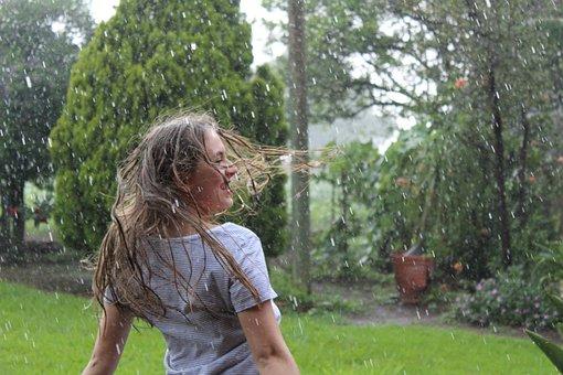 Rain, Women, Drops, Plants, Drizzle, Nature, Wild, Girl