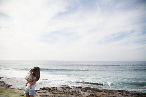 People, Woman, Family, Mother, Beach, Ocean, Sea, Love