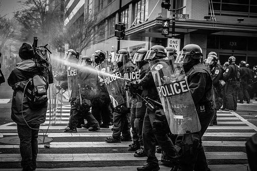 People, Police, Protest, Water, Shield, Helmet, Gear