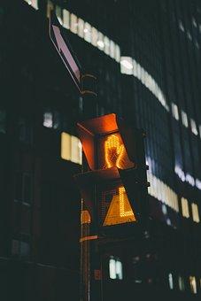 Stoplight, Dark, Night, Urban, City, Light, Hand, Sign