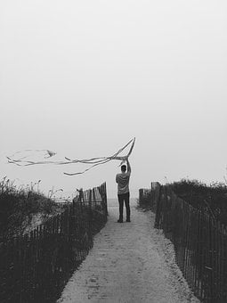 People, Man, Kite, Black And White, Monochrome, Fence