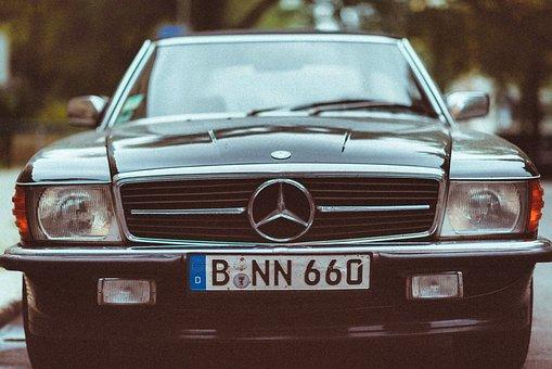 Car, Benz, Mercedes Benz, Plate Number, Vintage, Old