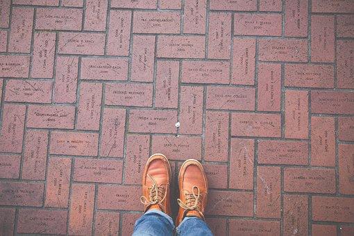 Brown, Leather, Shoe, Footwear, Jeans, Floor, Outdoor