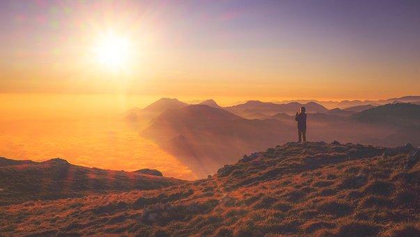 Sunset, People, Man, Woman, Sun, Mountain, Nature
