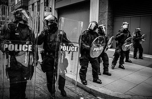 People, Police, Protest, Shield, Helmet, Gear