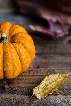 Leaves, Pumpkin, Halloween, Autumn, Fall, Wood