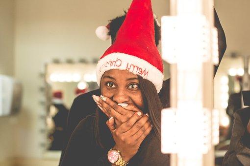 Hat, Woman, Girl, Watch, African American, Black, Santa