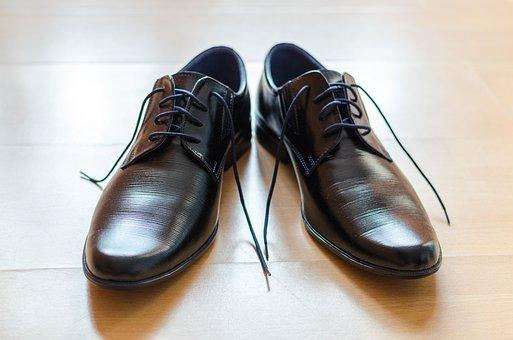 Shoes, Shoelace, Floor, Black, Leather, Wood, Shiny