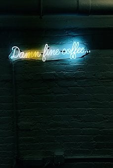 Night, Dark, Lights, Colorful, Bar, Wall, Sign, Coffee
