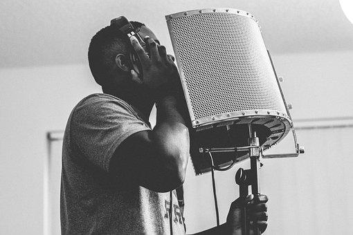 Guy, Singing, Headphone, Microphone, Studio, Music