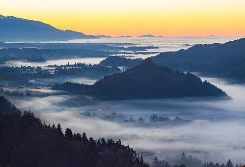 Nature, Landscape, Mountain, Clouds, Sky, Sunset, Fog