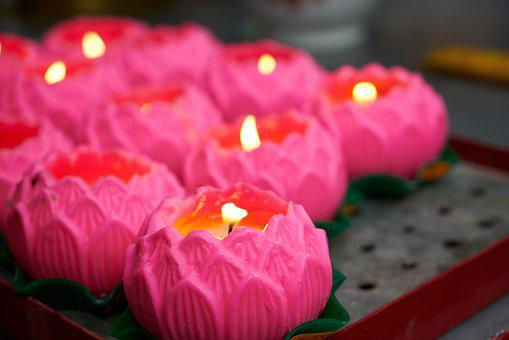 Candle, Oil Lamp, Prayer, Temple, Culture, Pink