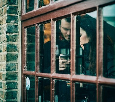 Window, Glass, Couple, Mobile, Love, Texting, Phone