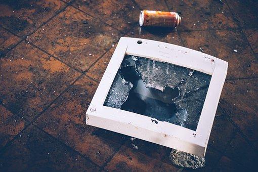Broken, Damage, Trash, Glass, Floor, Tiles, Monitor