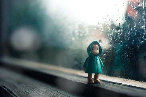 Rain, Drops, Water, Glass, Toy, Figure, Jacket, Kid