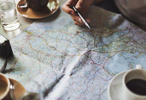Map, Travel, Coffee, Water, Glass, Mug, Plate, Pen