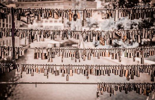 Lock, Old, Vintage, Chain, Wire, Key, Vignette
