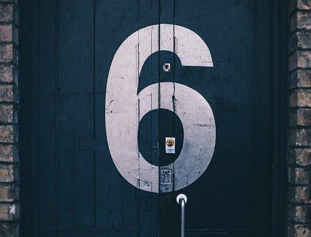 Six, Number, Door, Brick, Wood