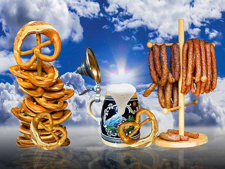 Pretzel, Eat, Oktoberfest, Beer, Beer Mug, Foam