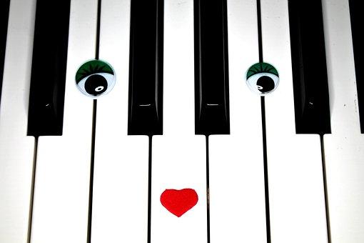 Piano, Piano Lessons, Eyes, Keys, Black, White, Music