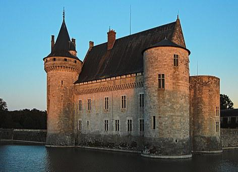 Castle, Sully On Loire, Sunset, Tower, Pierre, Moat