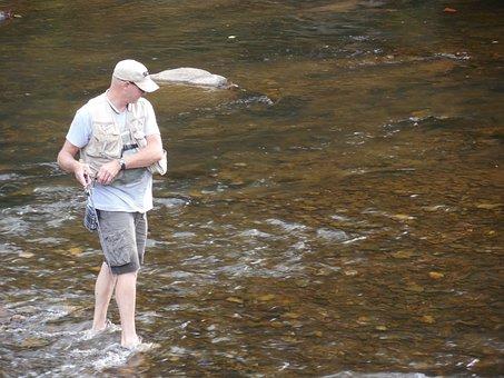 Fisherman, River, Fishing, Water, Nature, Fish, Catch