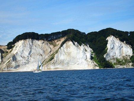 White Cliffs, Cliff, Sailing Yacht, Island Mön, Denmark