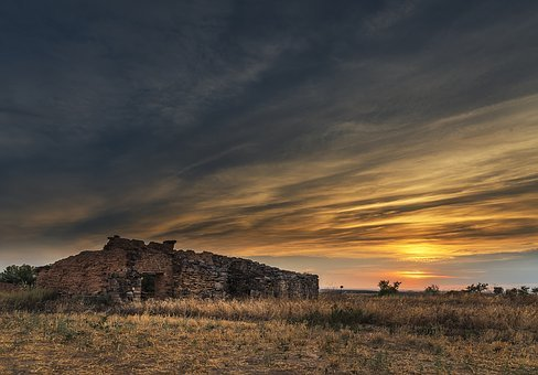 Sunset, Field, Cabin, Color, Blue, Red, Abandoned, Old