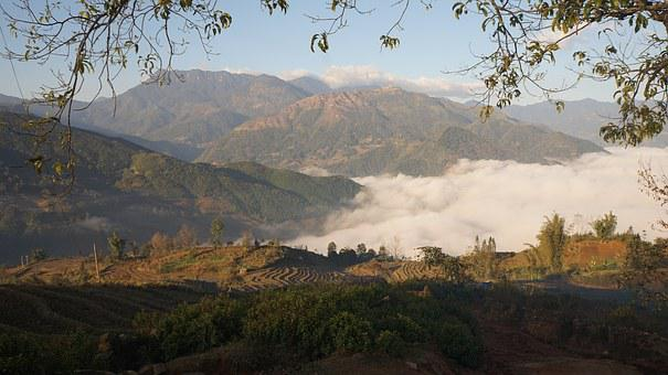 Rice Terrace, Clouds, Rice, Landscape, Mountain, Green