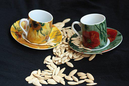 Cups, Yellow, Green, Pepita, Seeds, Chromata