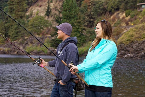 Anglers, Fishing, Salmon, Man, Woman, Couple, Hobby