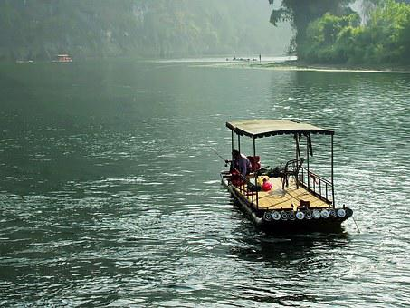 China, Yangshuo, Li River, Mist, Dampness, Boat