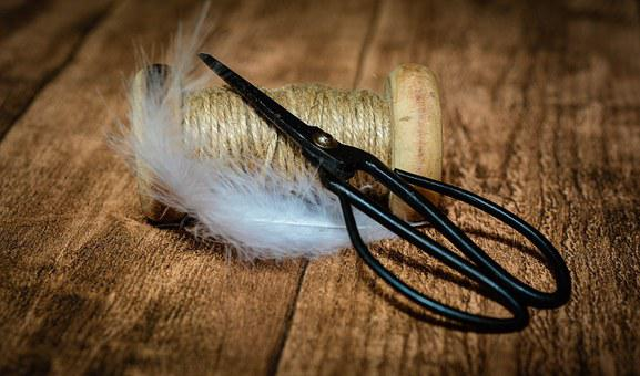 Coil, Wooden Reel, Scissors, Old Scissors, Yarn, Spring