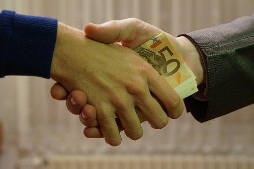 Euro, Bank Notes, Handshake, Transaction, People