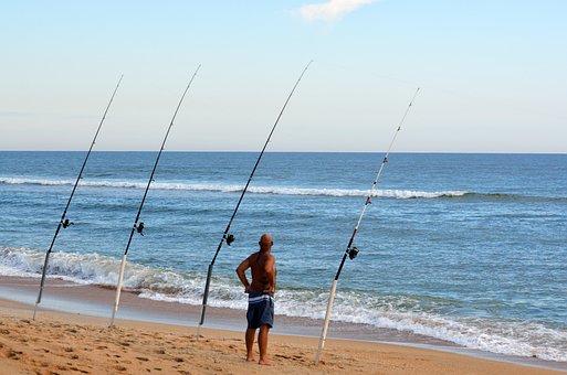 Surf Fisherman, Fishing Poles, Sand Spike, Ocean