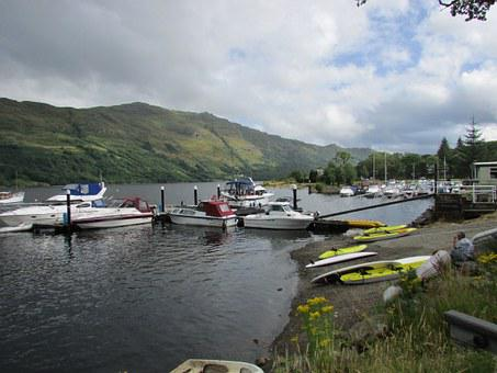 Scotland, Loch Lomond, Boats, Jetty, Landscape, Scenic