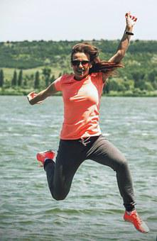 Jump, Sport, Outdoors, Nike, Just Do It, Fun, Active