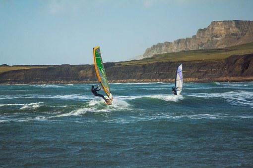 Surfing, Wind, Kimmeridge Bay, Dorset, England