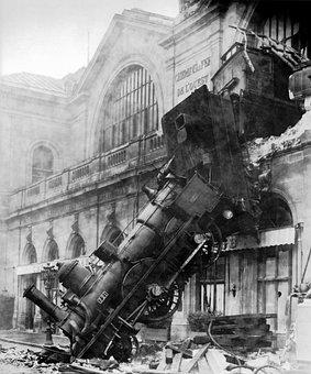 Train Wreck, Steam Locomotive, Locomotive, Railway
