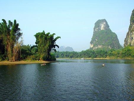 China, Yangshuo, Li River, Dampness, Reflections, Water