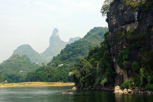 China, Yangshuo, Li River, Boat, Fisherman, Valley