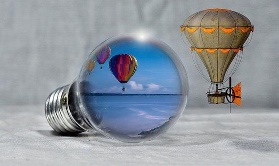 Balloon, Pear, Light Bulb, Coast, Sea, Energy, Airship